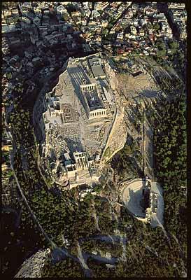 Die Akropolis von Athen aus der Luft gesehen