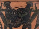 Hoplitenkampf, attische Lekythos, Mitte des 5. Jahrhunderts (Quelle: Wikipedia)