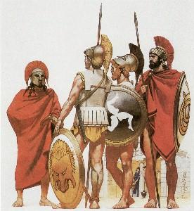 Hellenische Hopliten der klassischen Antike. Links ein Spartiat im roten Mantel mit langen Locken und dem aristokratischen Gehstock