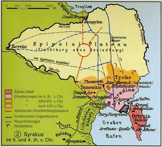 Belagerung von Syrakus durch Athen und seine Bundesgenossen 415 bis 413.