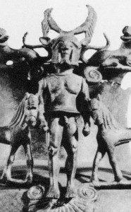 Lakonischer Bronzehoplit an einem Krater, vom Beginn des 6. Jh., Fundort Mittelitalien